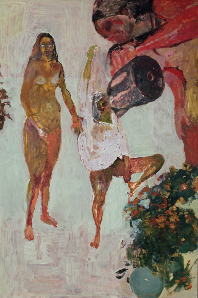 Three women and kettle